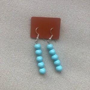 Jewelry - Handmade Beaded Earrings Baby Blue One of a kind